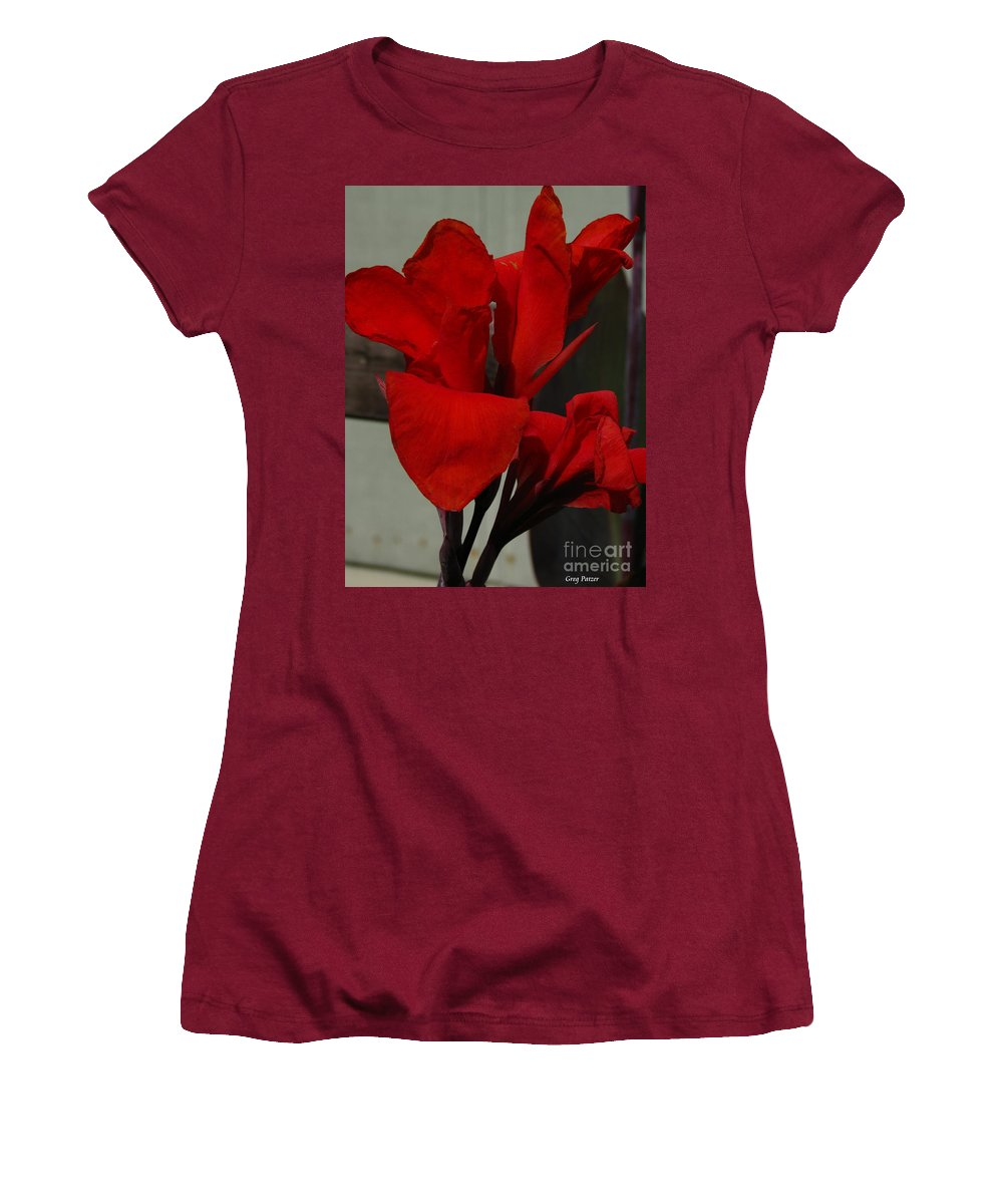 Patzer Women's T-Shirt (Athletic Fit) featuring the photograph Canna by Greg Patzer