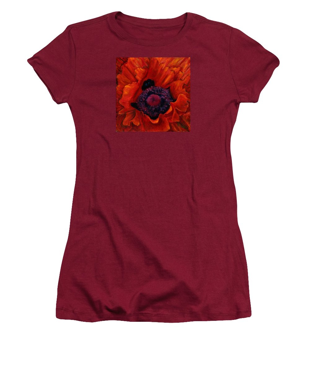 Red Poppy Women's T-Shirt (Athletic Fit) featuring the painting Close Up Poppy by Billie Colson
