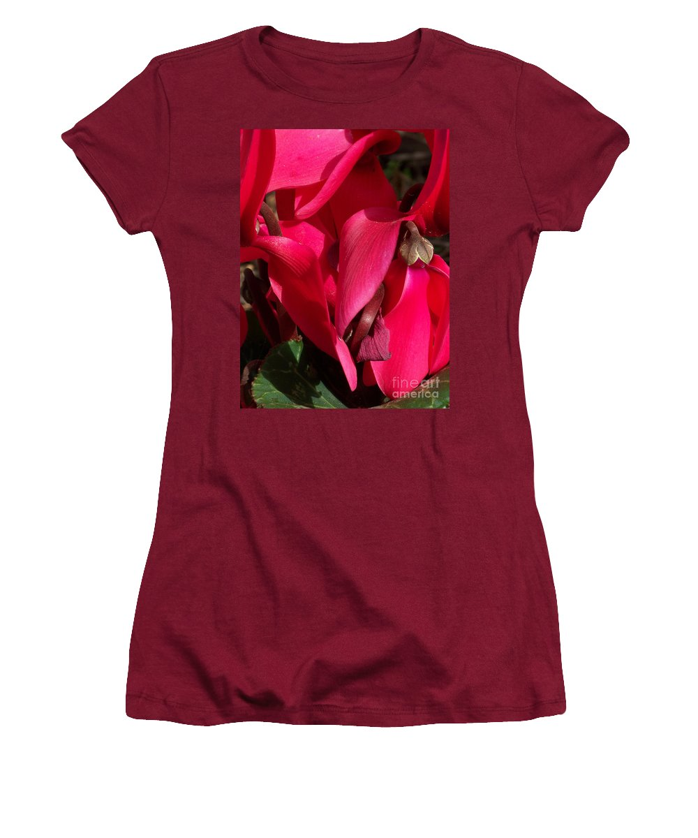 Flowers Women's T-Shirt (Athletic Fit) featuring the photograph Cyclamen by Kathy McClure