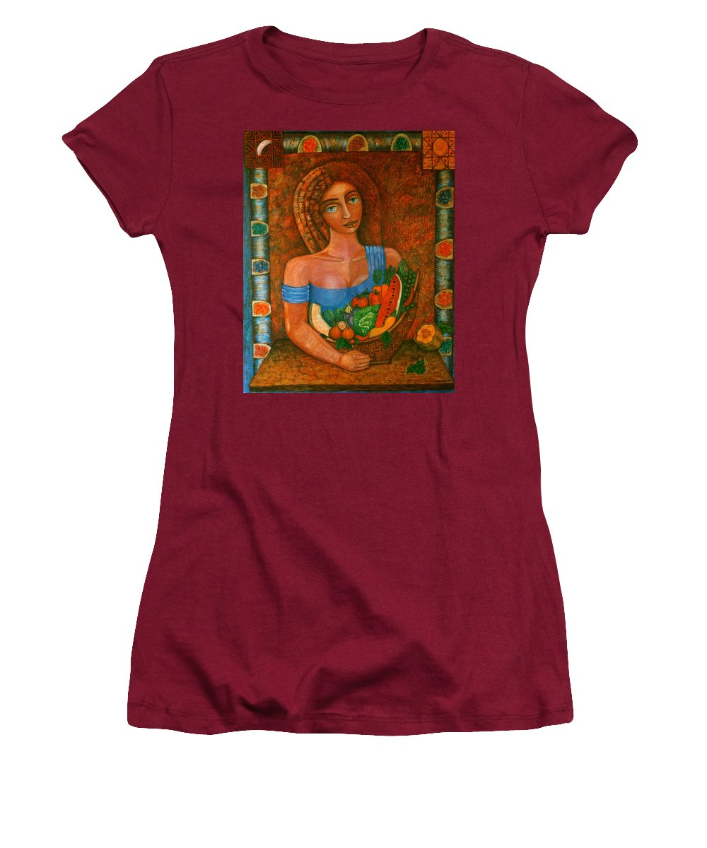 Acrylic Women's T-Shirt (Athletic Fit) featuring the painting Flora - Goddess Of The Seeds by Madalena Lobao-Tello