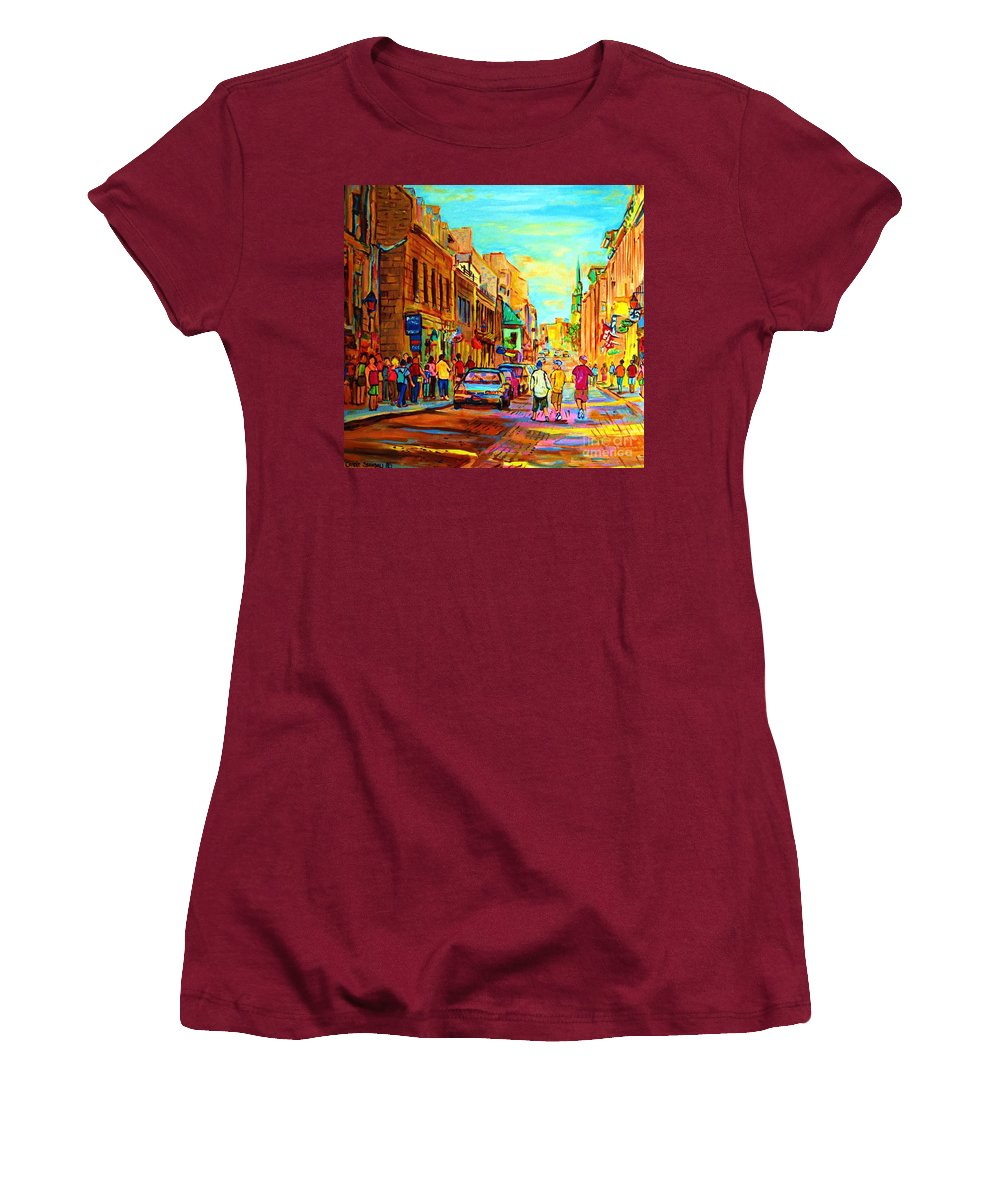 Montreal Women's T-Shirt (Athletic Fit) featuring the painting Follow The Yellow Brick Road by Carole Spandau
