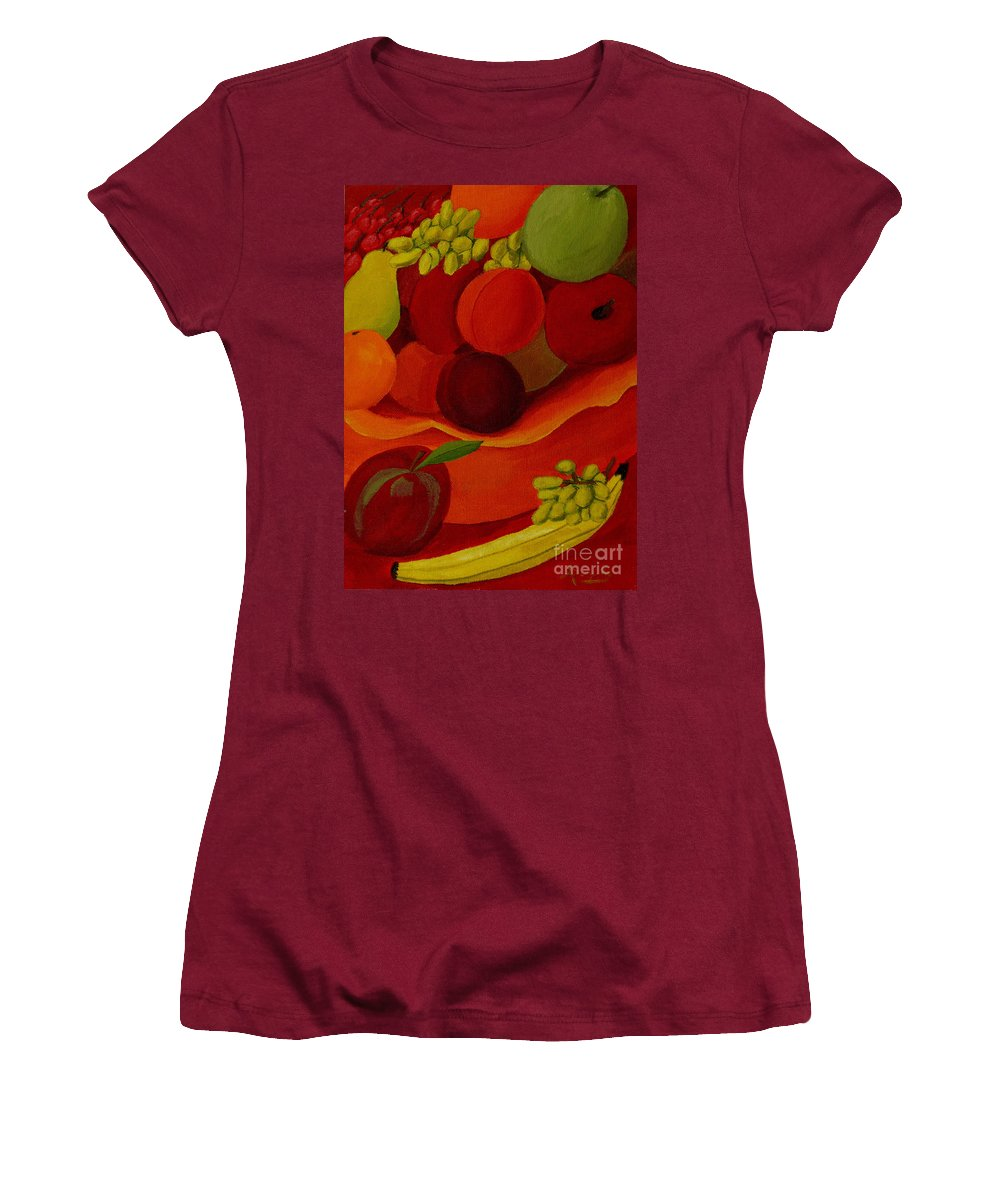 Fruit Women's T-Shirt (Athletic Fit) featuring the painting Fruit-still Life by Anthony Dunphy