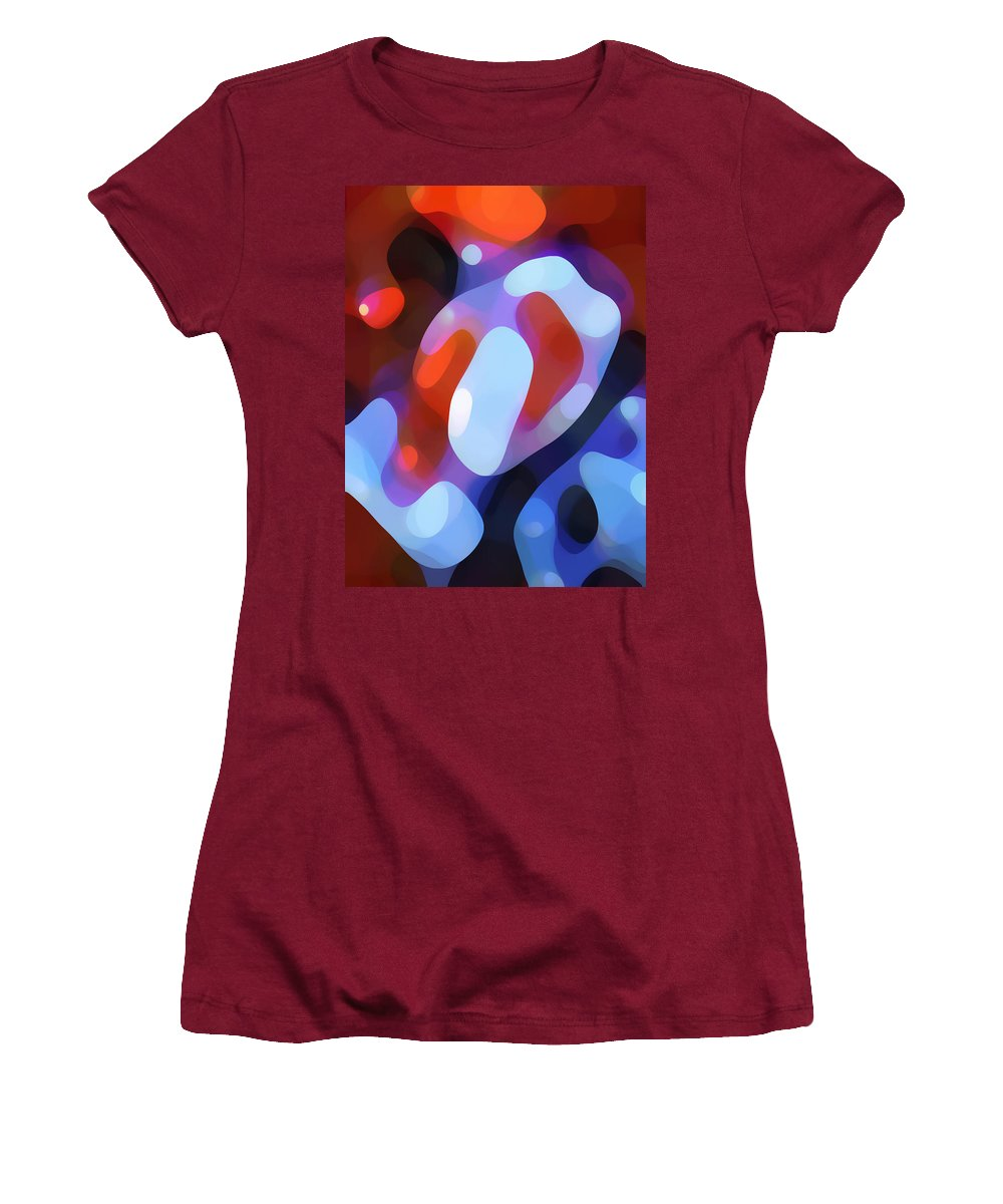 Abstract Women's T-Shirt (Athletic Fit) featuring the painting Light Through Fall Leaves by Amy Vangsgard