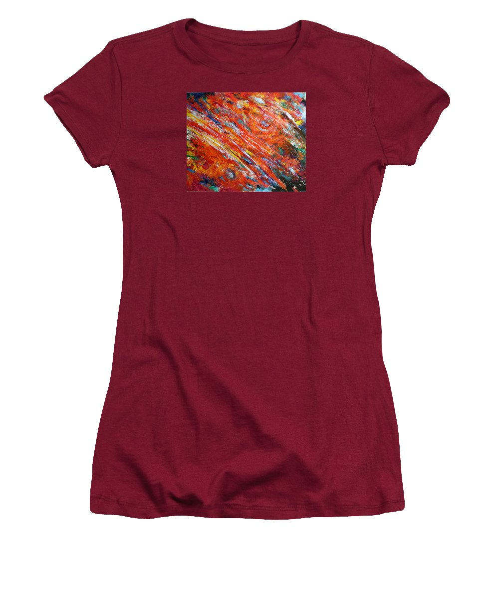 Abstract Women's T-Shirt (Athletic Fit) featuring the painting Loves Fire by Michael Durst