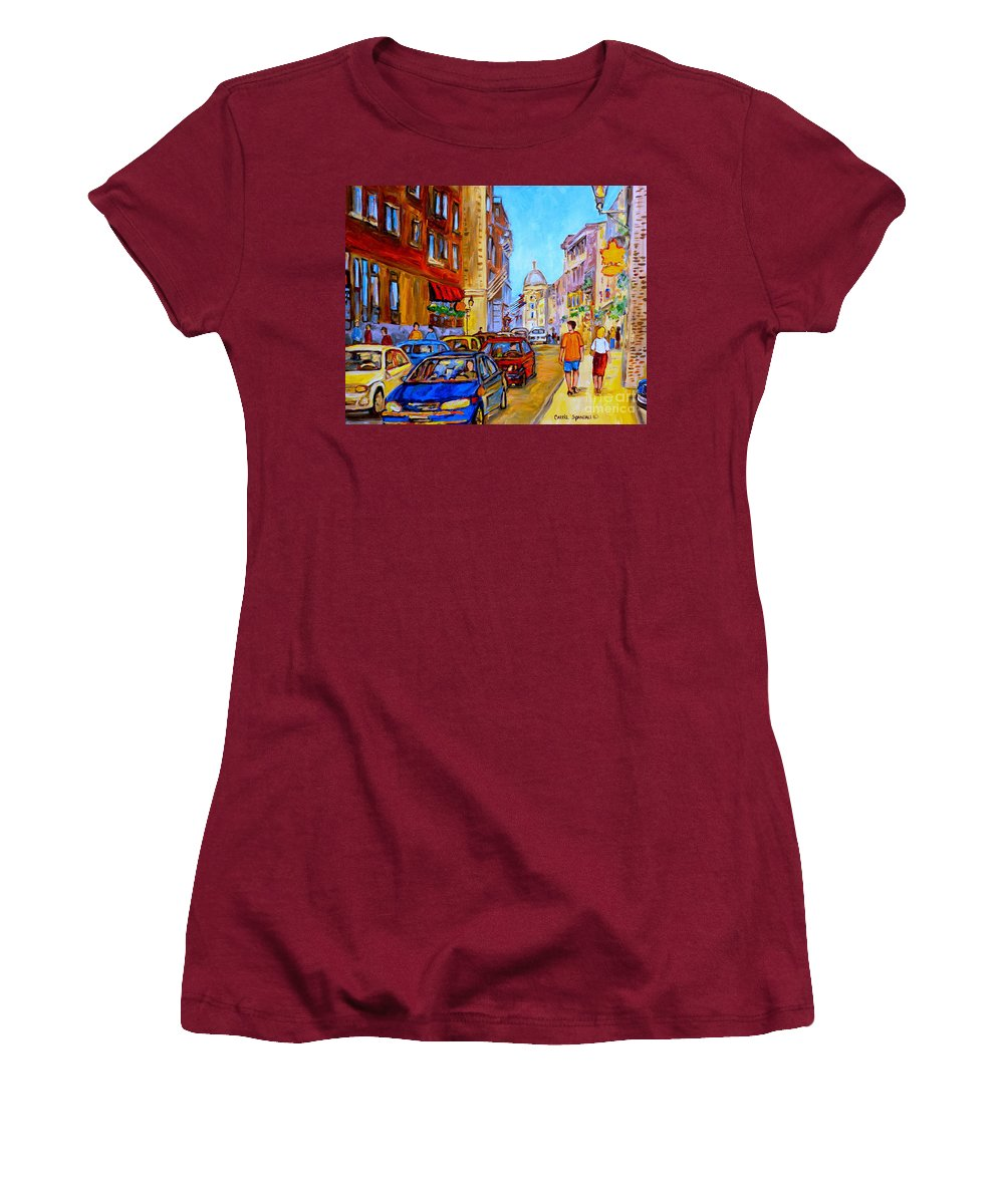 Old Montreal Street Scenes Women's T-Shirt (Athletic Fit) featuring the painting Old Montreal by Carole Spandau