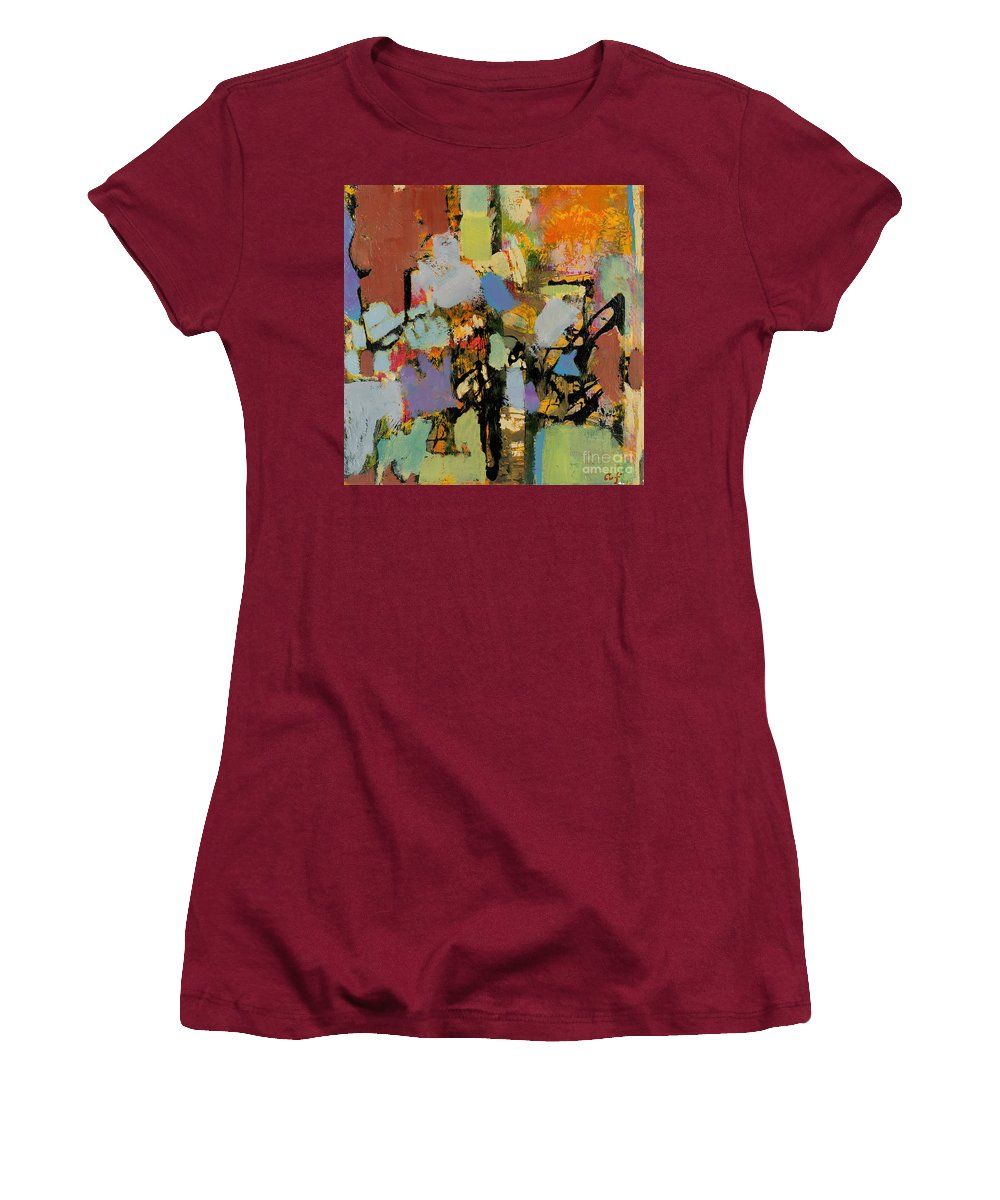 Landscape Women's T-Shirt (Athletic Fit) featuring the painting Quick Racing by Allan P Friedlander