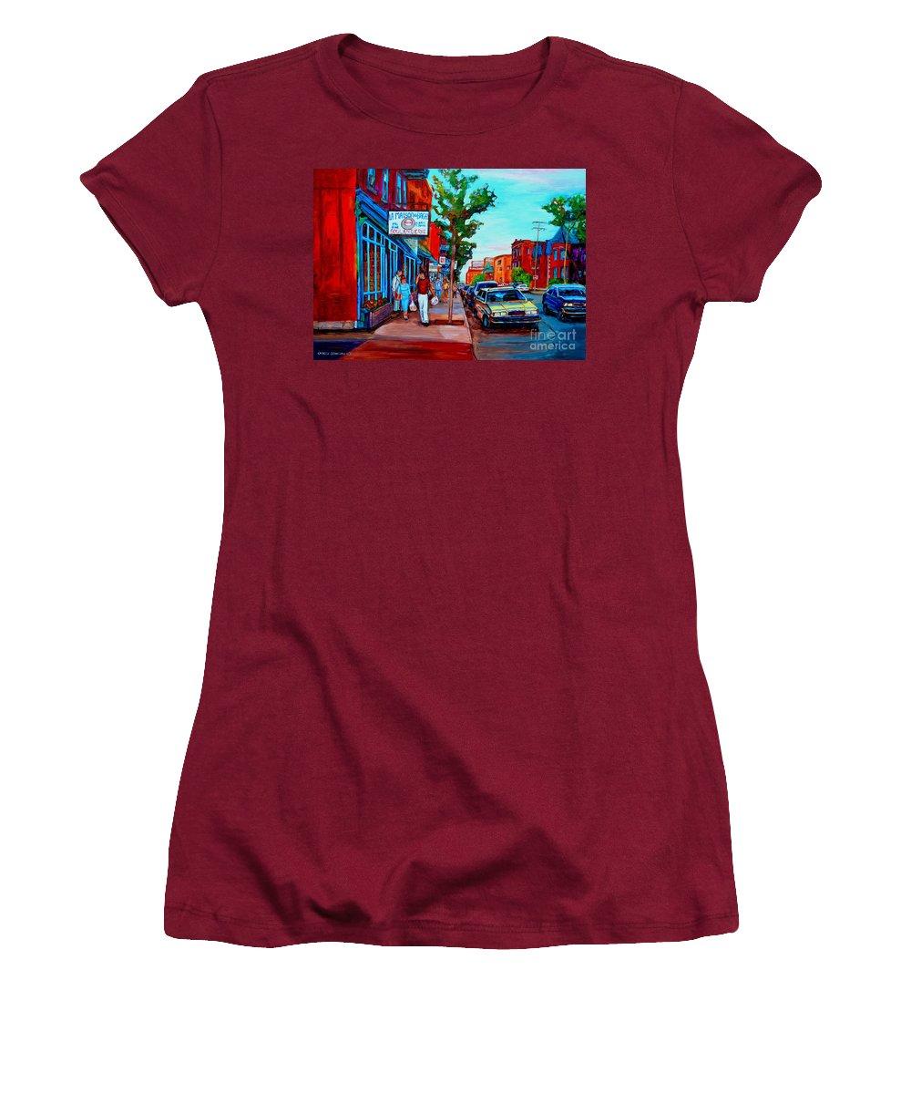 St.viateur Bagel Shop Women's T-Shirt (Athletic Fit) featuring the painting Saint Viateur Bagel Shop by Carole Spandau