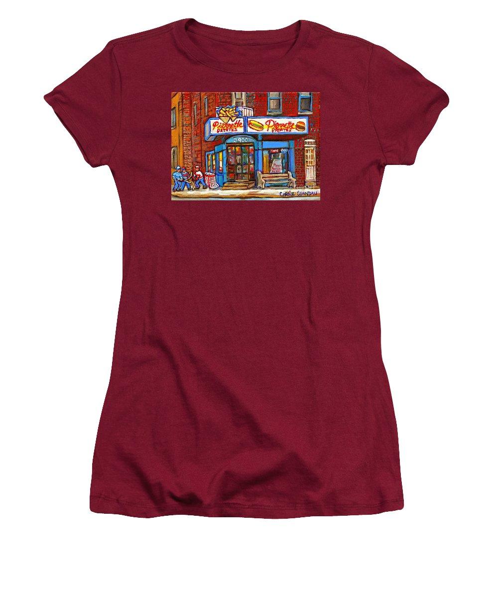 Verdun Women's T-Shirt (Athletic Fit) featuring the painting Verdun Famous Restaurant Pierrette Patates - Street Hockey Game At 3900 Rue Verdun - Carole Spandau by Carole Spandau