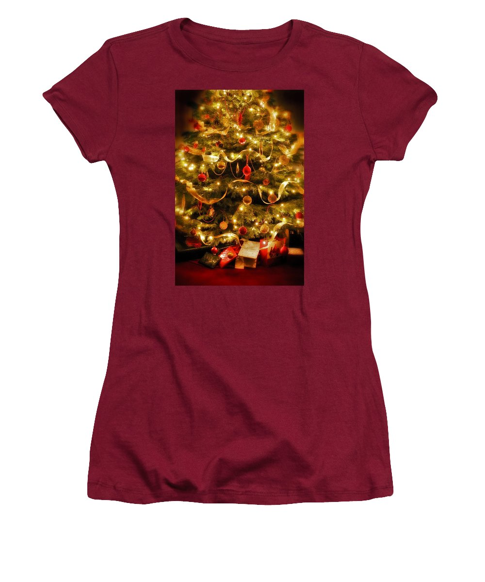 Victorian Christmas Tree Xmas Baubles Gifts Presents Decorations Ribbon Pine Needles Fairy Lights Women's T-Shirt (Athletic Fit) featuring the photograph Christmas Tree by Mal Bray