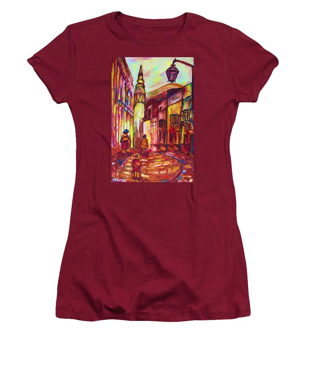 Paris Women's T-Shirt (Athletic Fit) featuring the painting Montmartre by Carole Spandau