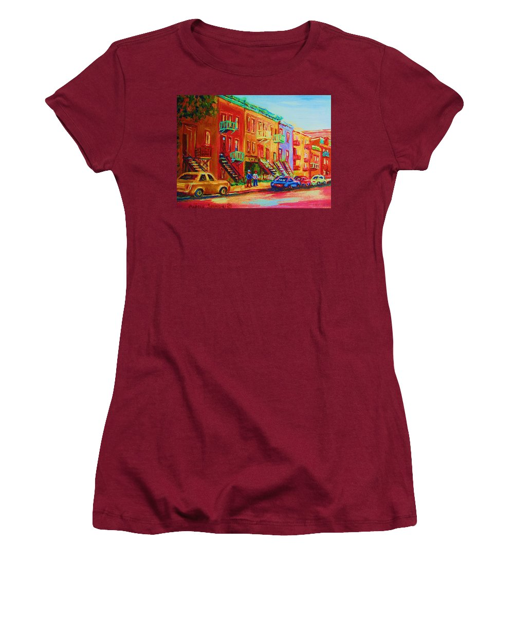Painted Houses Women's T-Shirt (Athletic Fit) featuring the painting Summer In The City by Carole Spandau