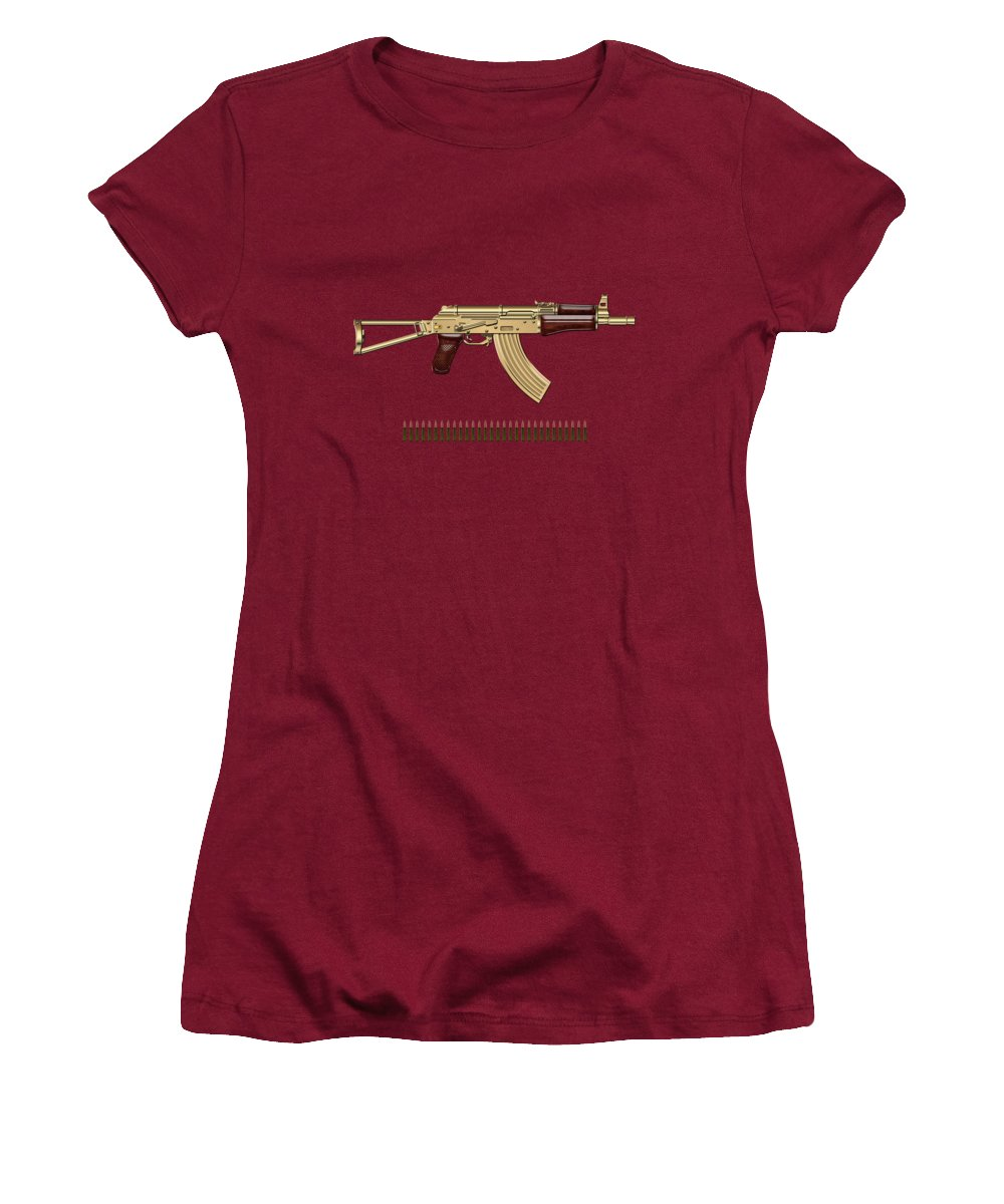 'the Armory' Collection By Serge Averbukh Women's T-Shirt (Athletic Fit) featuring the photograph Gold A K S-74 U Assault Rifle With 5.45x39 Rounds Over Red Velvet  by Serge Averbukh