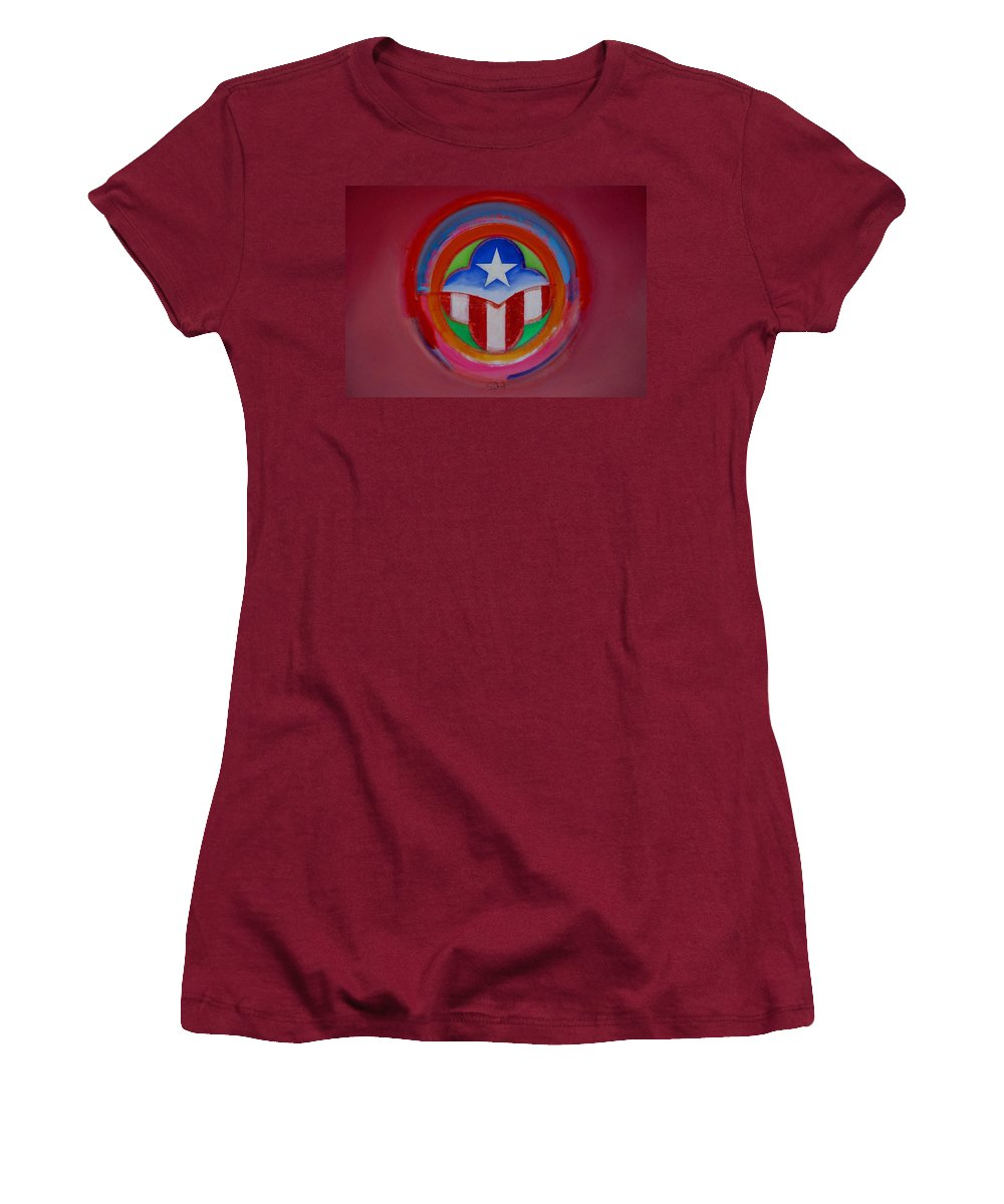 Button Women's T-Shirt (Athletic Fit) featuring the painting American Star Button by Charles Stuart