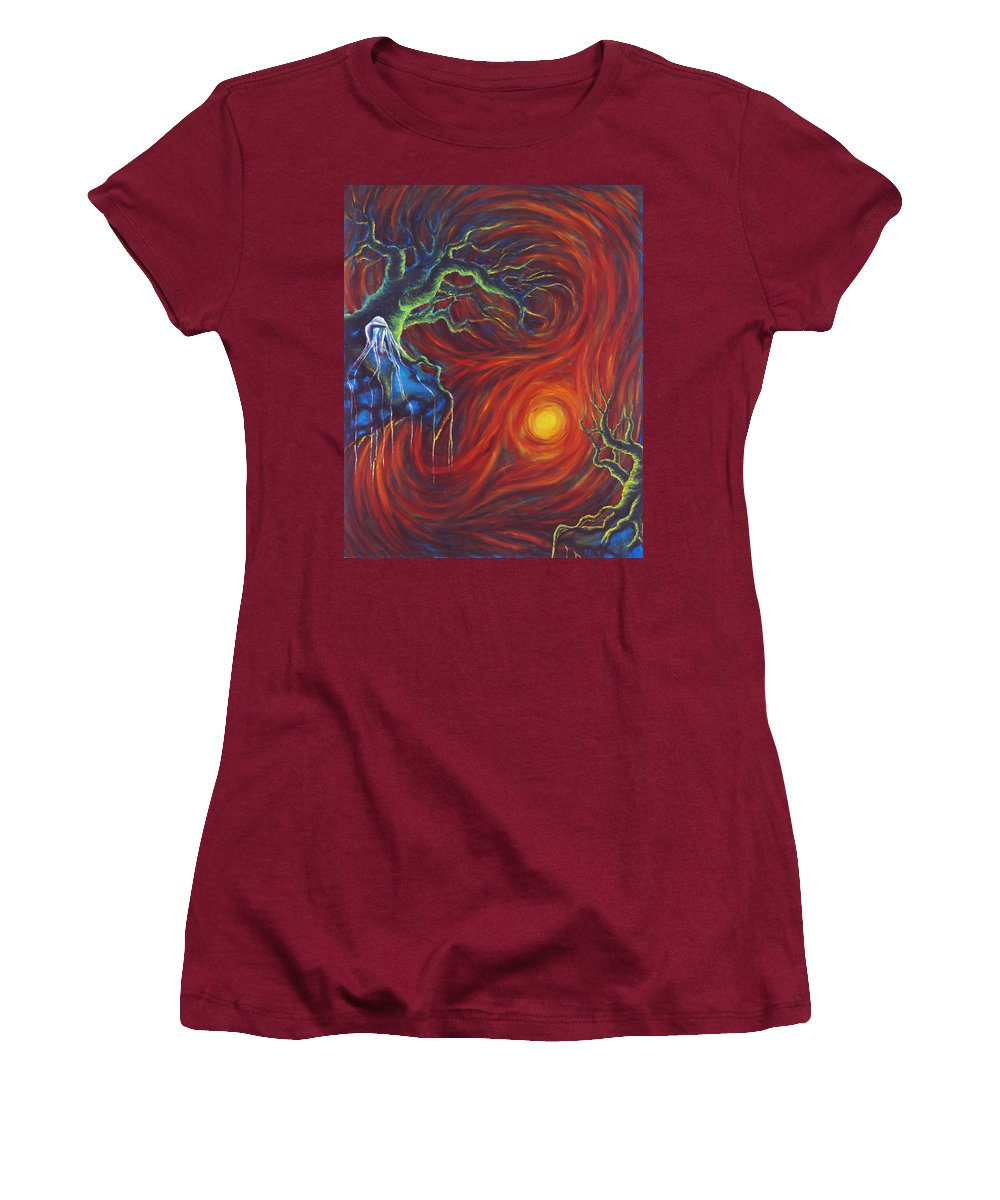 Tree Paintings Women's T-Shirt (Athletic Fit) featuring the painting Anxiety by Jennifer McDuffie