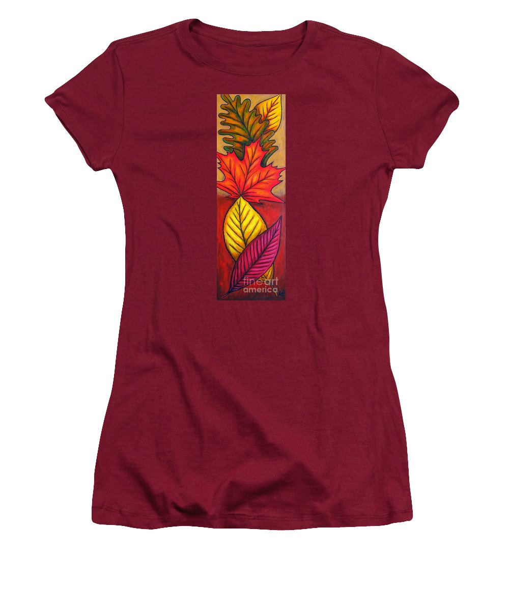 Autumn Women's T-Shirt (Athletic Fit) featuring the painting Autumn Glow by Lisa Lorenz
