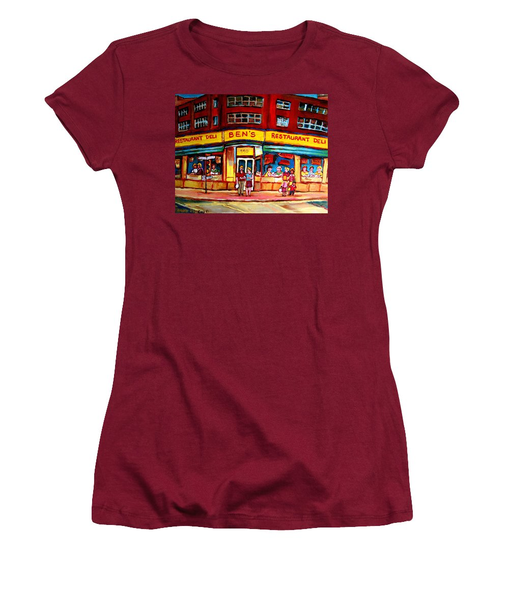 Bens Famous Restaurant Women's T-Shirt (Athletic Fit) featuring the painting Ben's Delicatessen - Montreal Memories - Montreal Landmarks - Montreal City Scene - Paintings by Carole Spandau