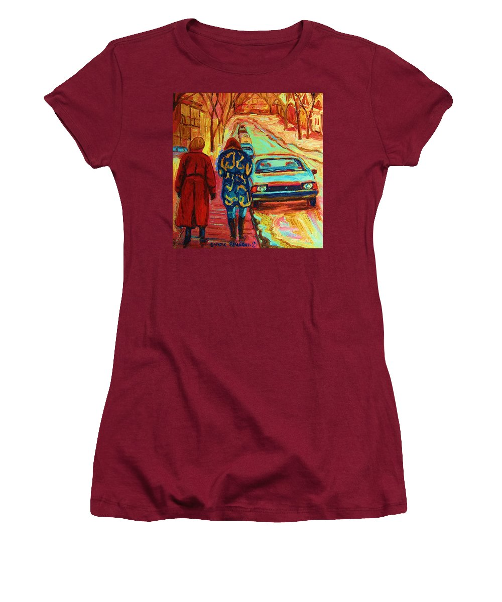 Inspirational Women's T-Shirt (Athletic Fit) featuring the painting Best Friends Forever by Carole Spandau