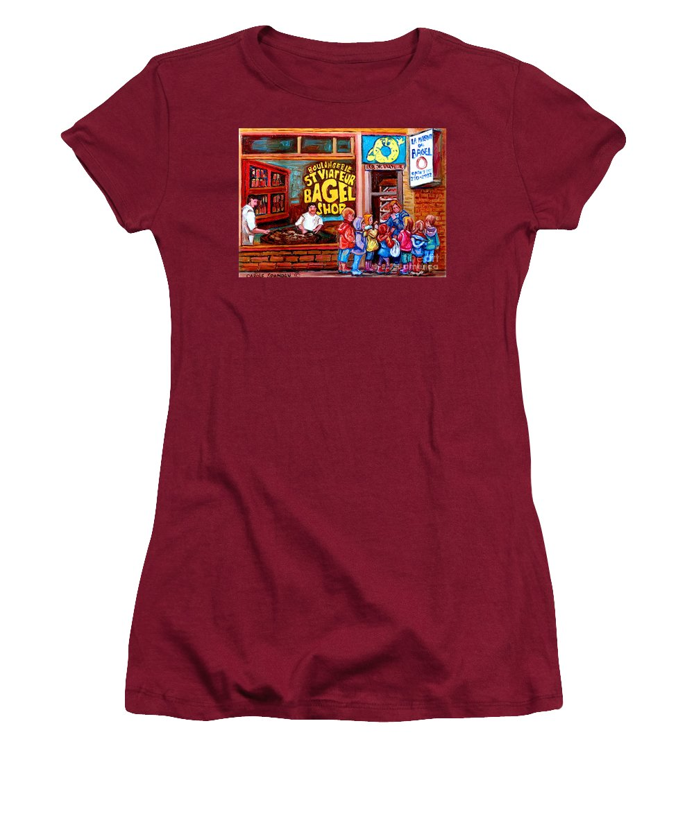 Children Women's T-Shirt (Athletic Fit) featuring the painting Bet You Cant Eat Just One by Carole Spandau