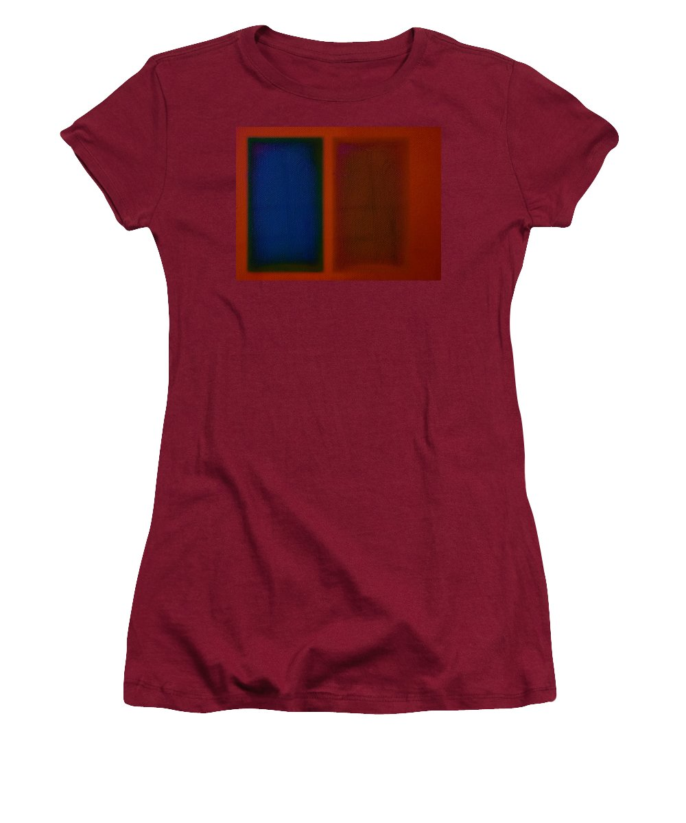Rothko Women's T-Shirt (Athletic Fit) featuring the painting Blue On Orange by Charles Stuart