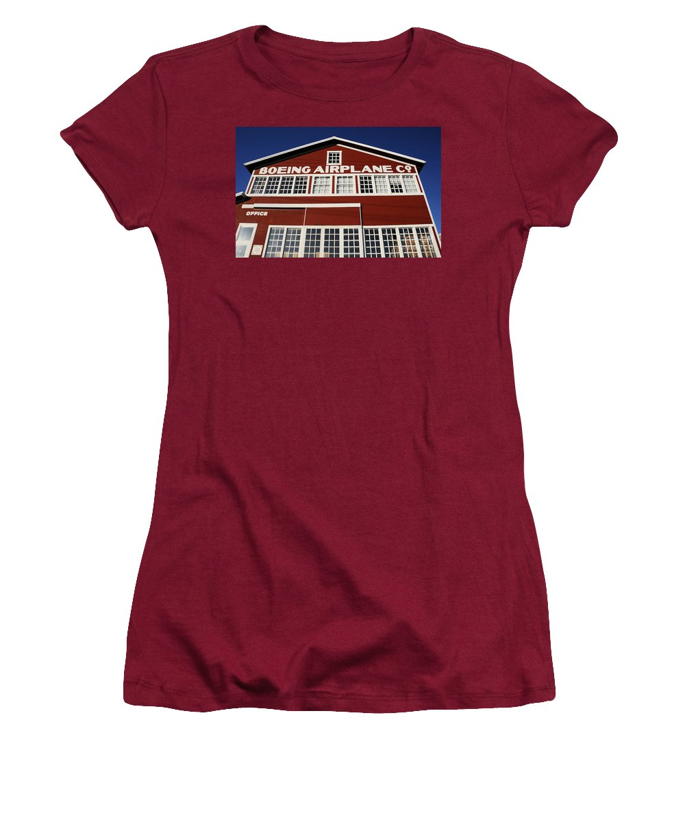 Boeing Women's T-Shirt (Athletic Fit) featuring the photograph Boeing Airplane Hanger Number One by David Lee Thompson