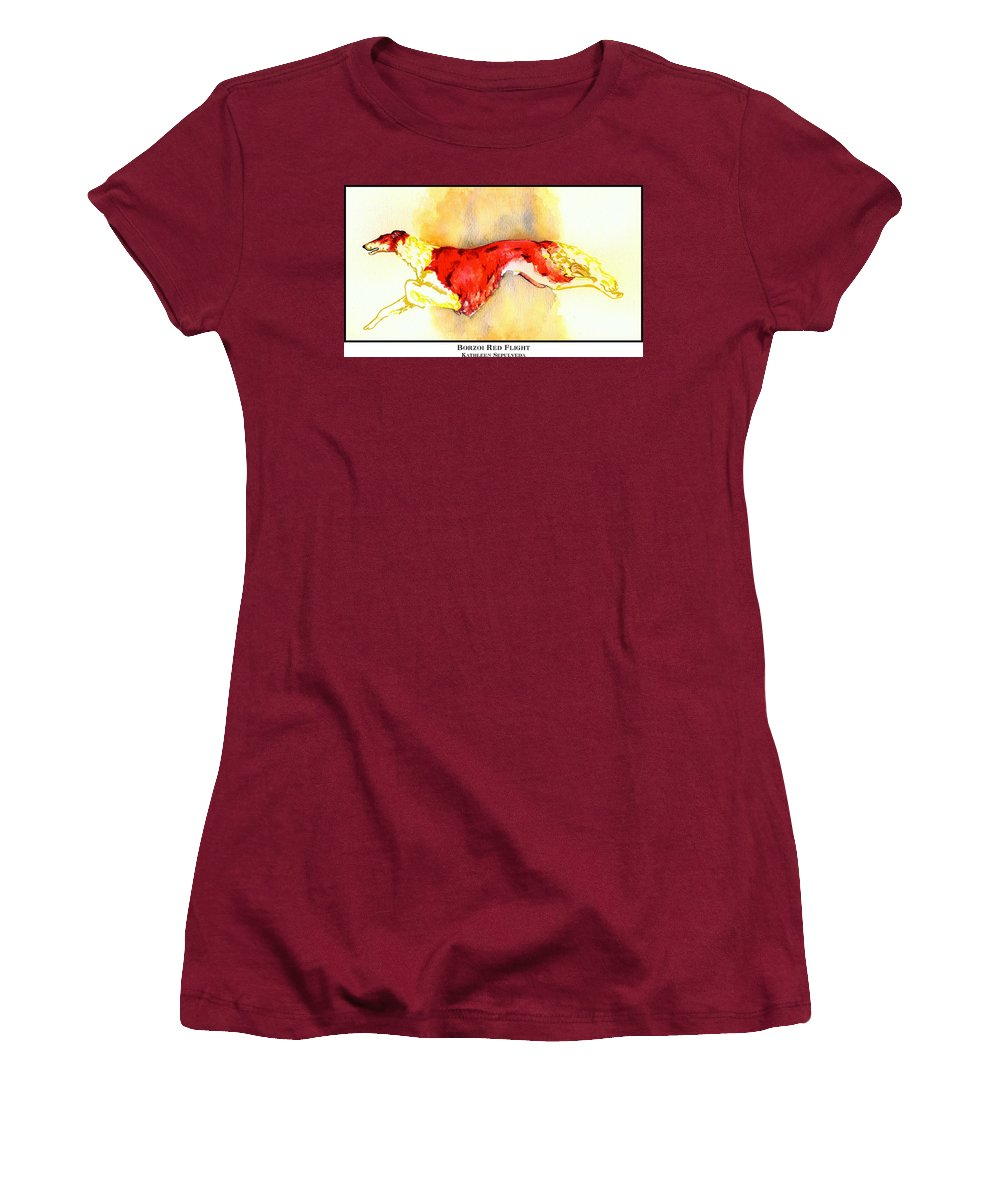 Borzoi Women's T-Shirt (Athletic Fit) featuring the digital art Borzoi Red Flight by Kathleen Sepulveda