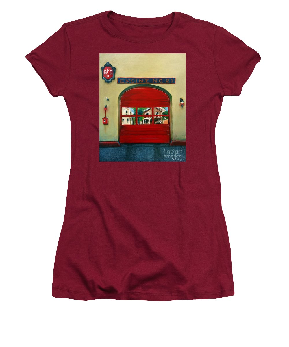 Fire House Women's T-Shirt (Athletic Fit) featuring the painting Boston Fire Engine 21 by Paul Walsh