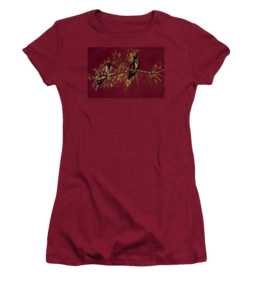 Humming Birds Women's T-Shirt (Athletic Fit) featuring the drawing Branching Out by Cori Solomon