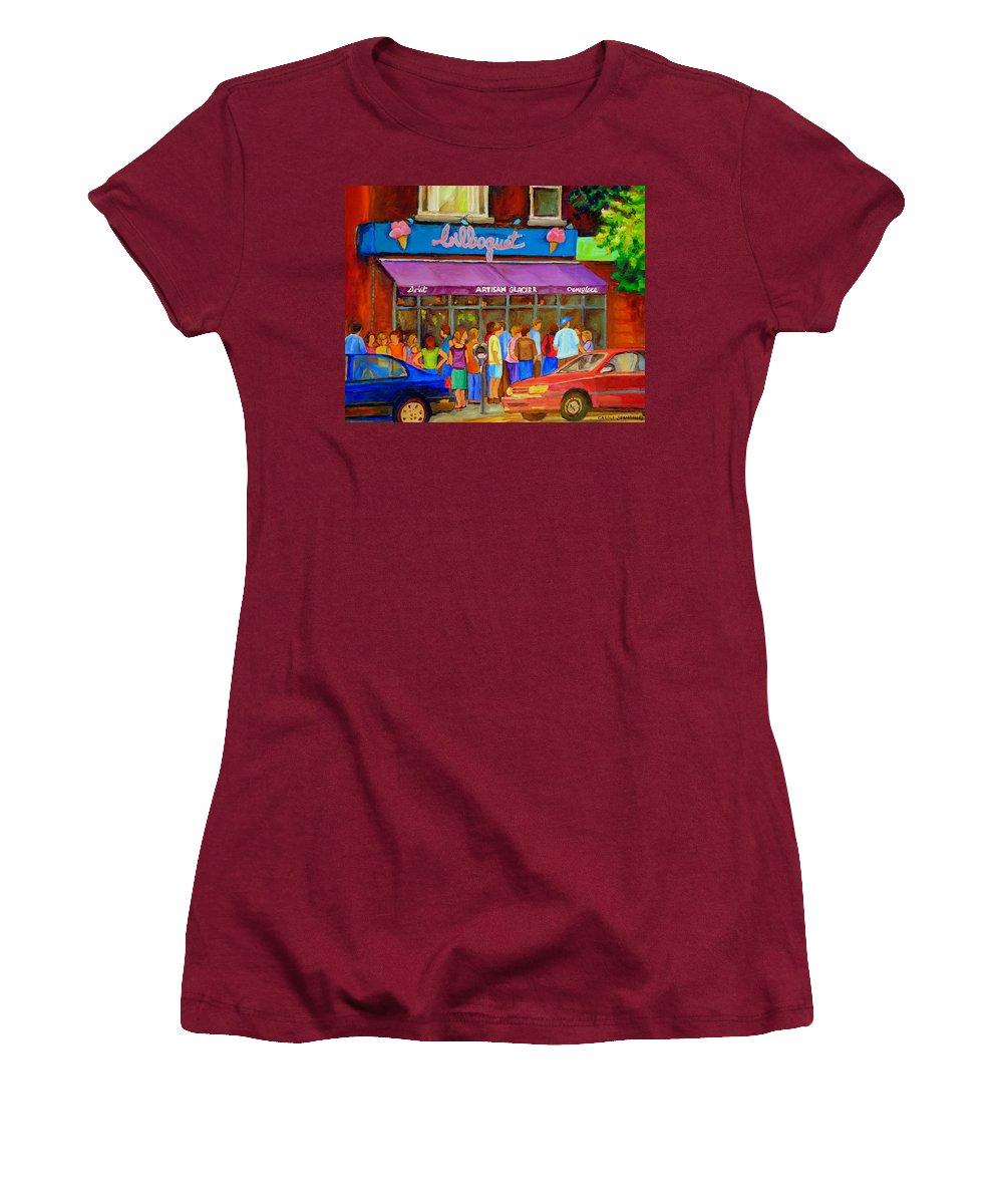 Cafe Bilboquet Women's T-Shirt (Athletic Fit) featuring the painting Cafe Bilboquet Ice Cream Delight by Carole Spandau