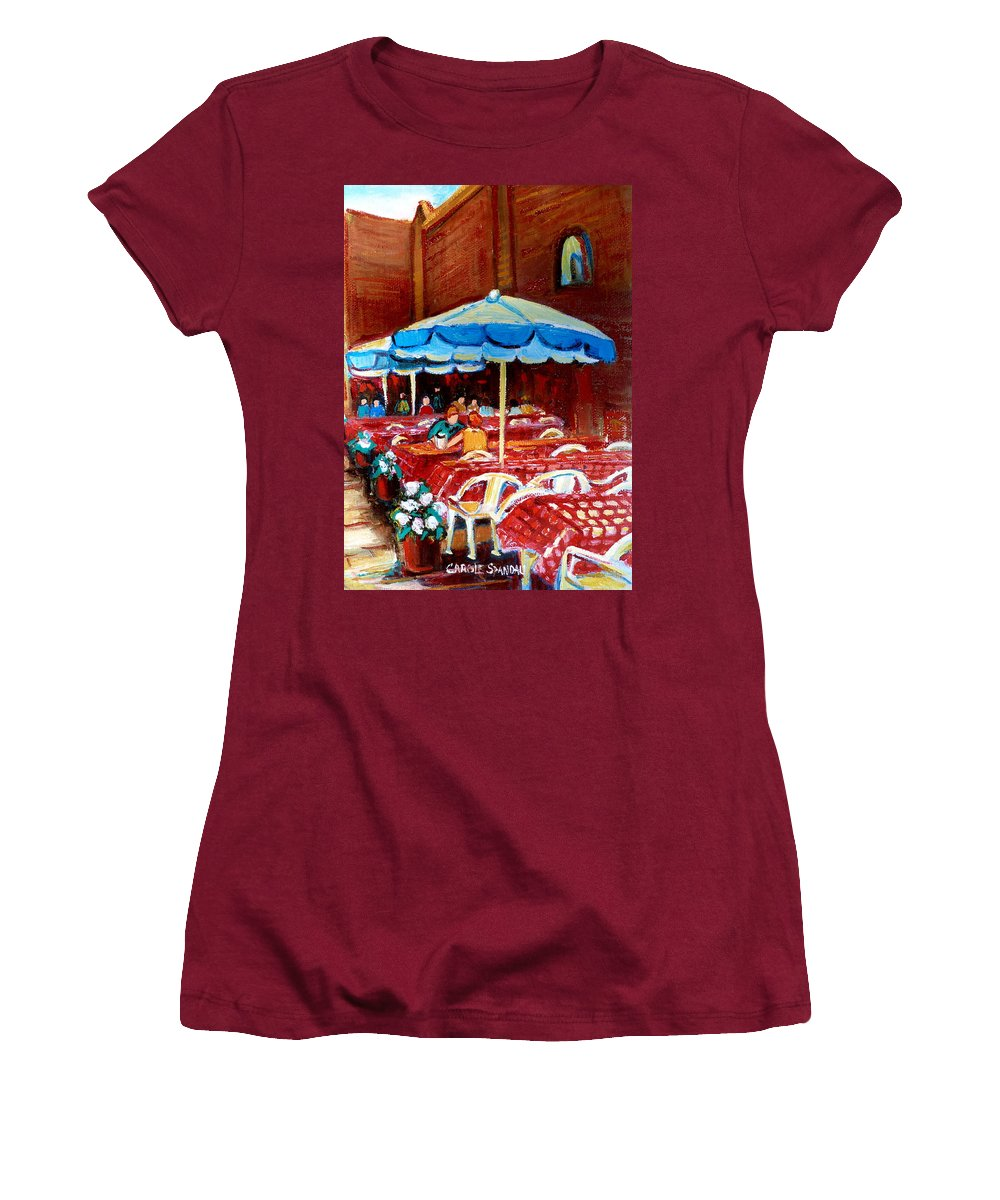 Montreal Women's T-Shirt (Athletic Fit) featuring the painting Checkered Tablecloths by Carole Spandau