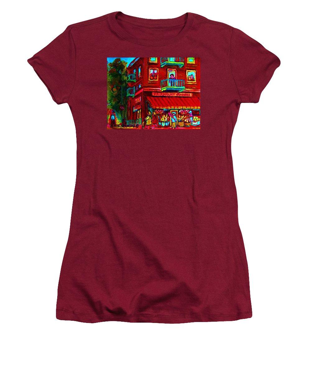 Flowershop Women's T-Shirt (Athletic Fit) featuring the painting Corner Flowershop by Carole Spandau