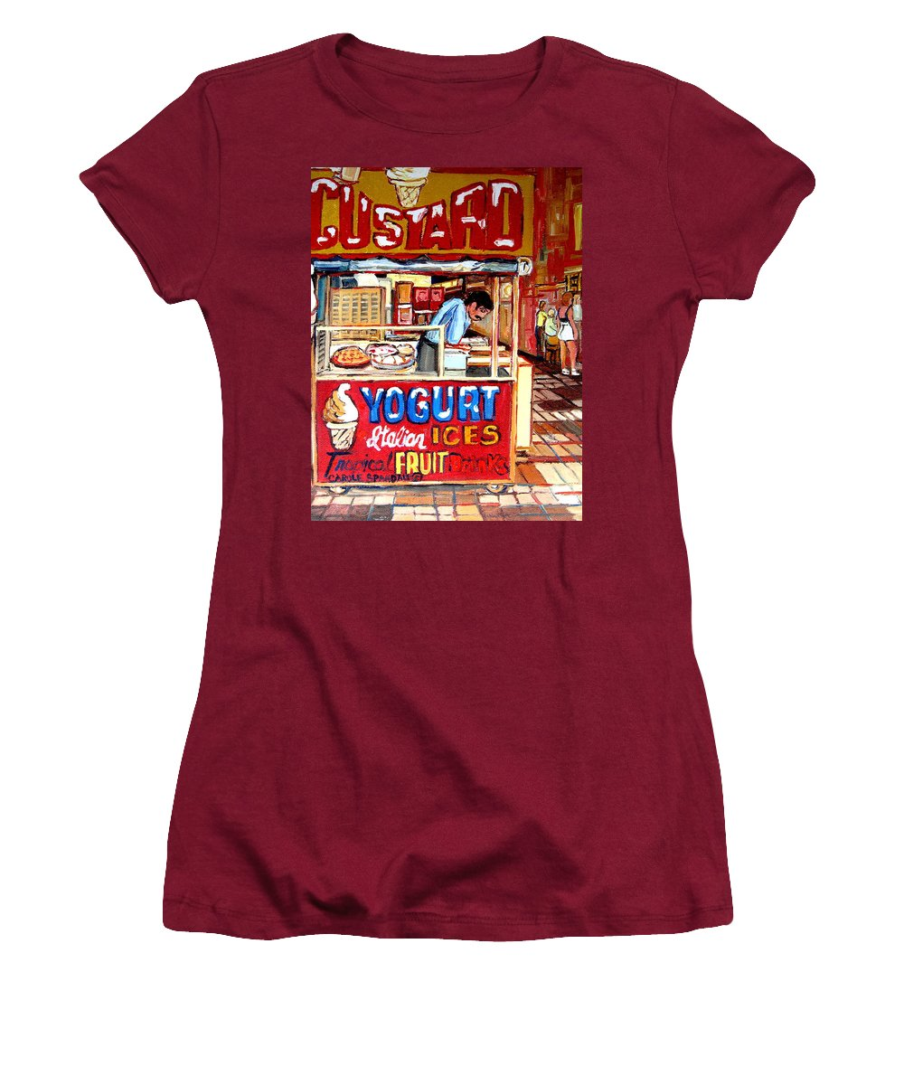 Custard Cart Women's T-Shirt (Athletic Fit) featuring the painting Custard Cart by Carole Spandau