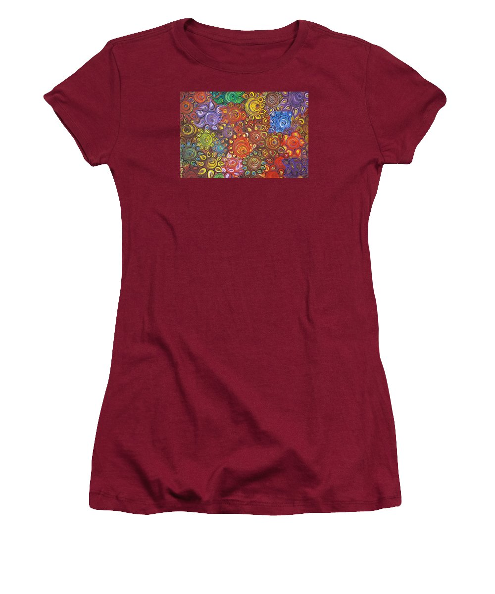 Flower Women's T-Shirt (Athletic Fit) featuring the painting Decorative Flowers by Rita Fetisov