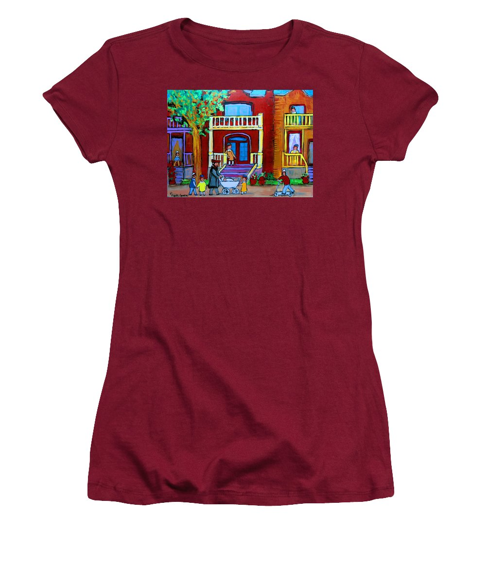 Judaica Women's T-Shirt (Athletic Fit) featuring the painting Durocher Street Montreal by Carole Spandau