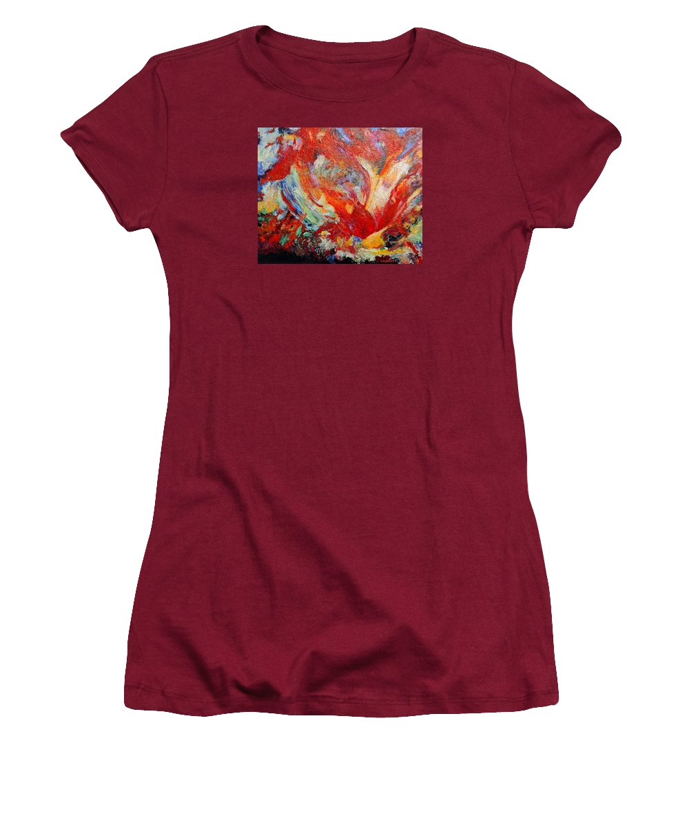 Abstract Women's T-Shirt (Athletic Fit) featuring the painting Exuberance by Michael Durst