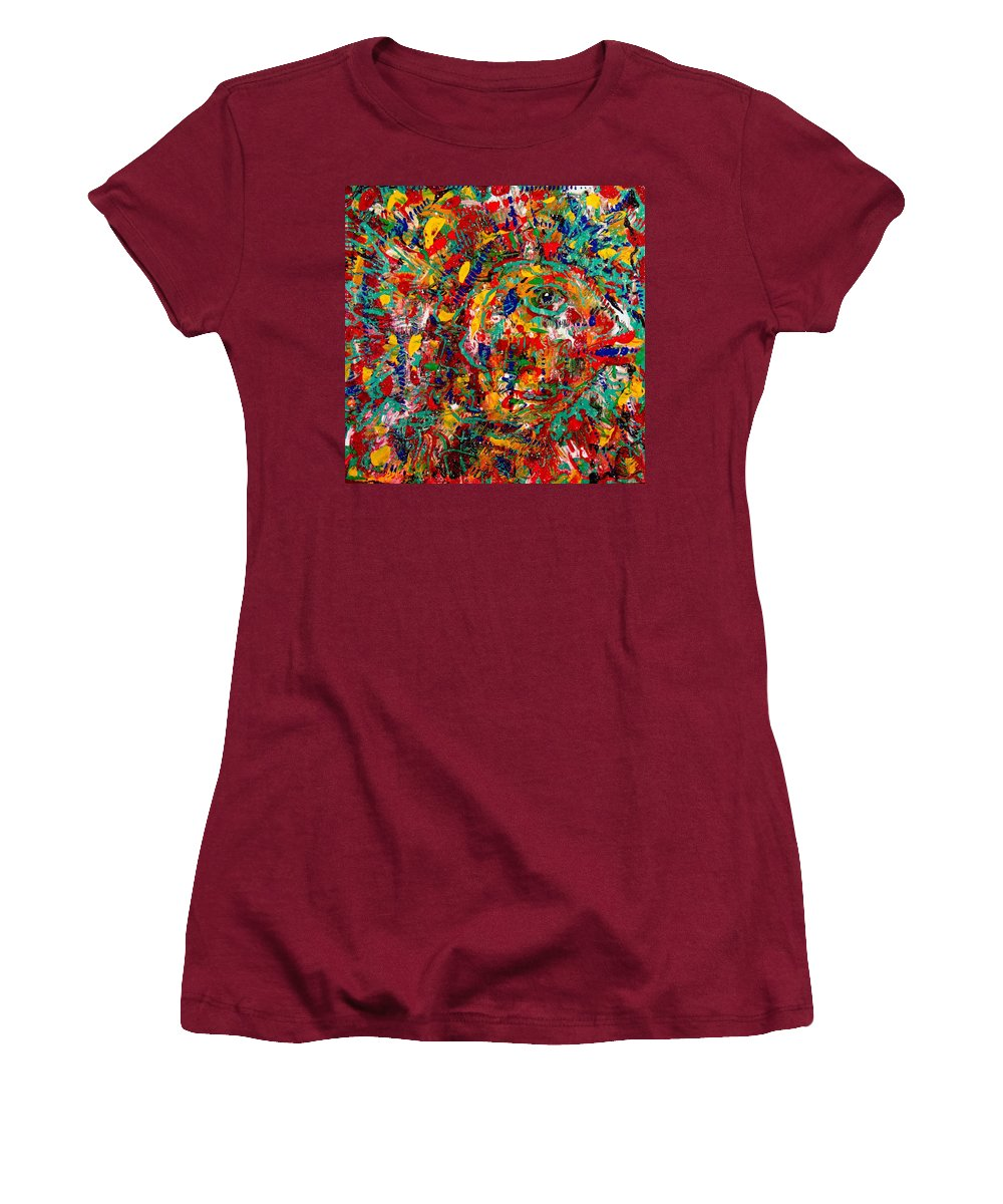 Abstract Women's T-Shirt (Athletic Fit) featuring the painting Eye Of The Beholder by Natalie Holland
