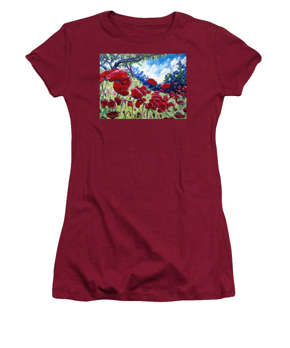 Poppies Women's T-Shirt (Athletic Fit) featuring the painting Field Of Poppies 02 by Richard T Pranke
