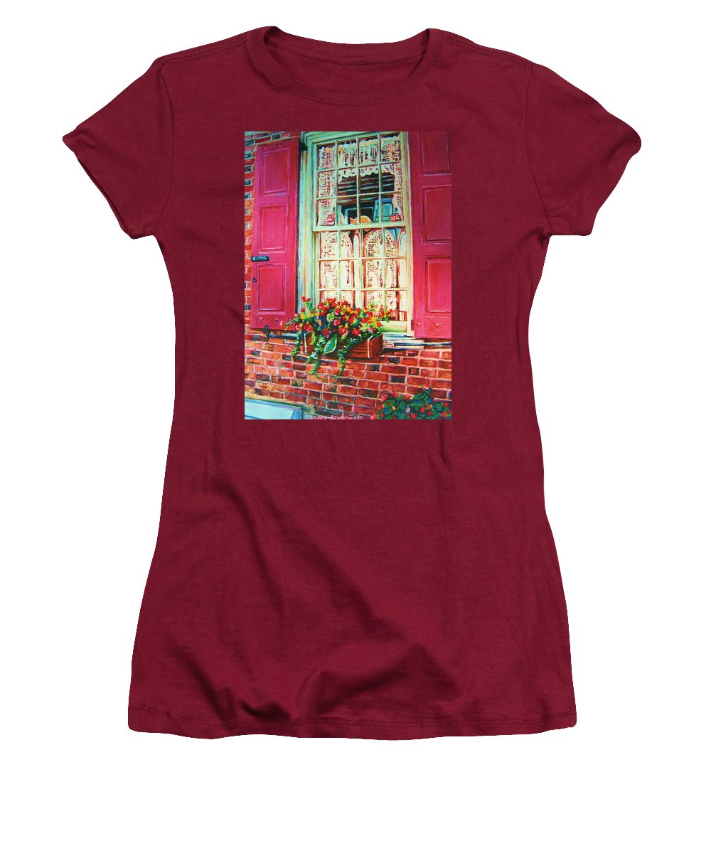 Flower Box Women's T-Shirt (Athletic Fit) featuring the painting Flower Box And Pink Shutters by Carole Spandau