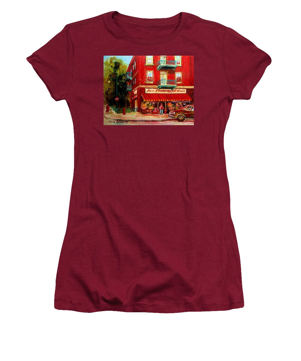 Fairmount Street Women's T-Shirt (Athletic Fit) featuring the painting Flower Shop On The Corner by Carole Spandau