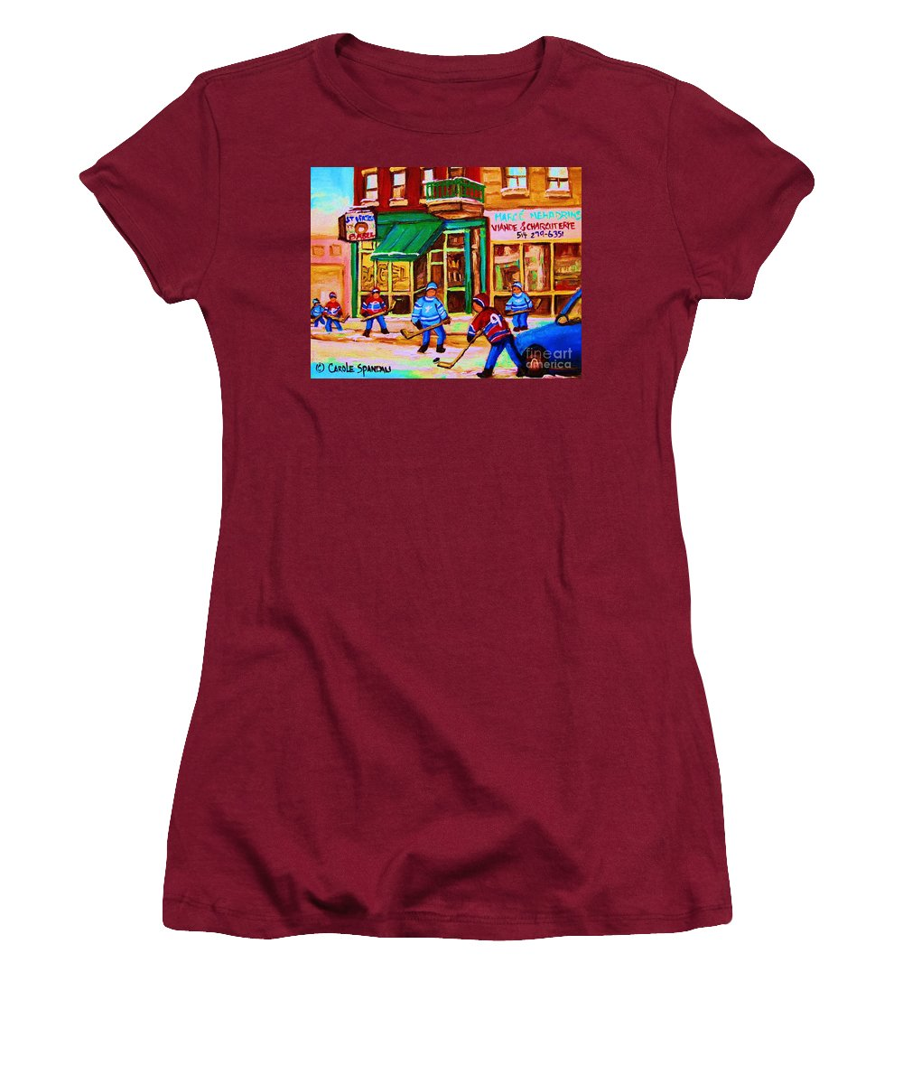 Hockey Art Women's T-Shirt (Athletic Fit) featuring the painting Hockey At Mehadrins by Carole Spandau