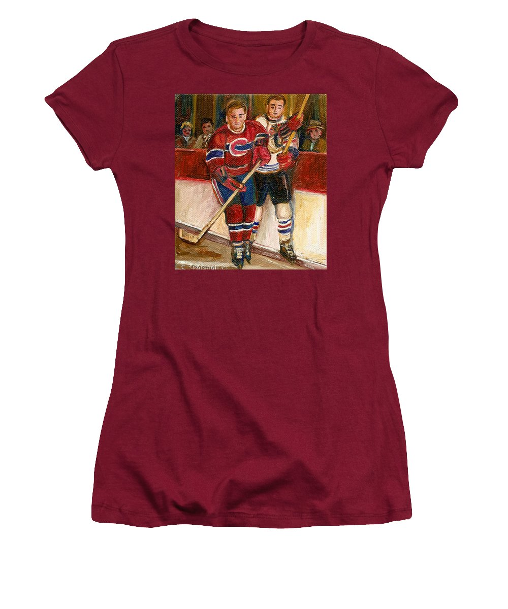 Hockey Women's T-Shirt (Athletic Fit) featuring the painting Hockey Stars At The Forum by Carole Spandau