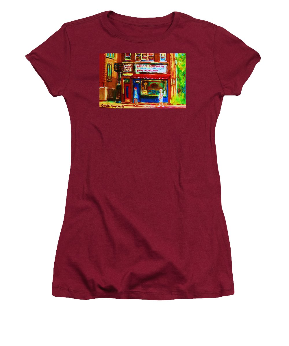 Small Cute Store Women's T-Shirt (Athletic Fit) featuring the painting Keys To The Summer by Carole Spandau