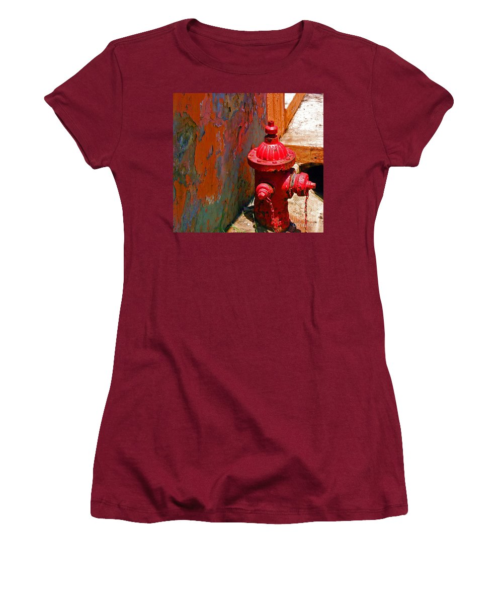 Red Women's T-Shirt (Athletic Fit) featuring the photograph Lil Red by Debbi Granruth
