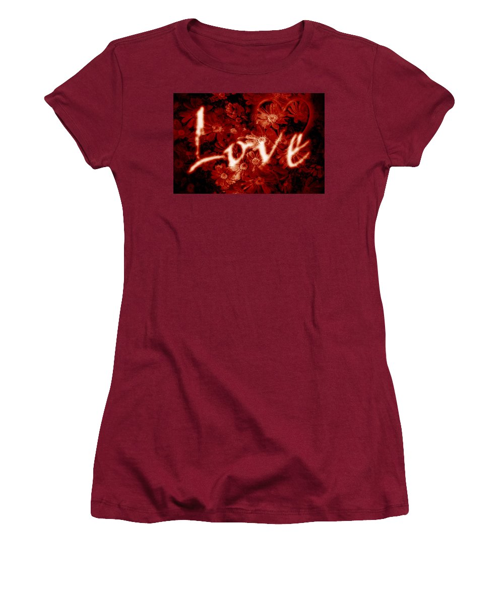 Love Women's T-Shirt (Athletic Fit) featuring the photograph Love With Flowers by Phill Petrovic