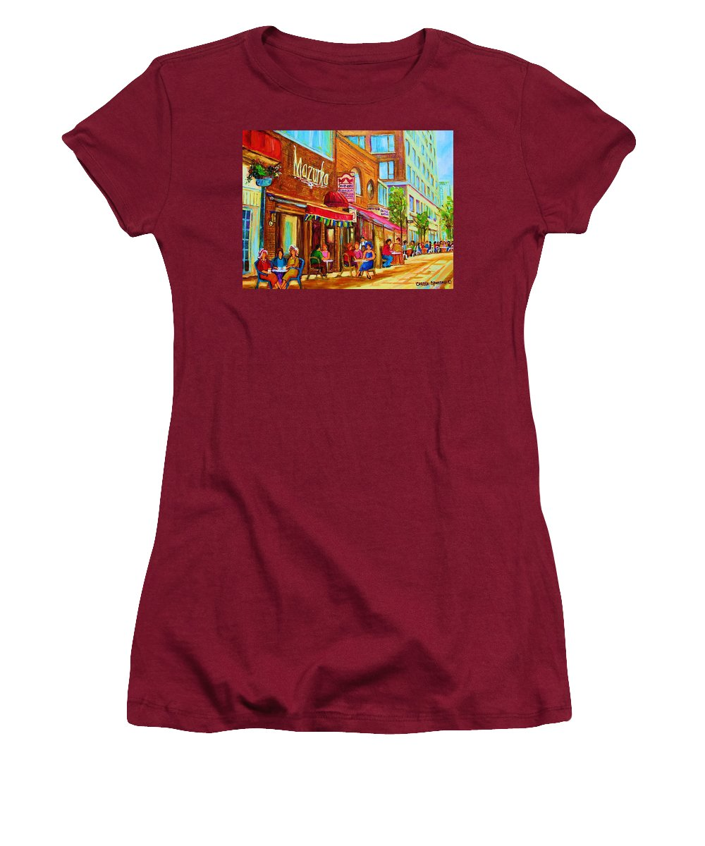Montreal Streetscene Women's T-Shirt (Athletic Fit) featuring the painting Mazurka Cafe by Carole Spandau