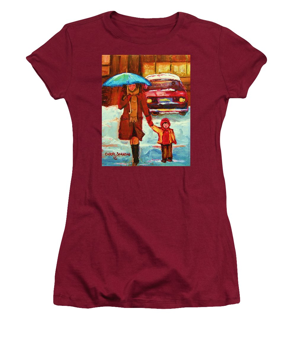 Montreal Women's T-Shirt (Athletic Fit) featuring the painting Moms Blue Umbrella by Carole Spandau