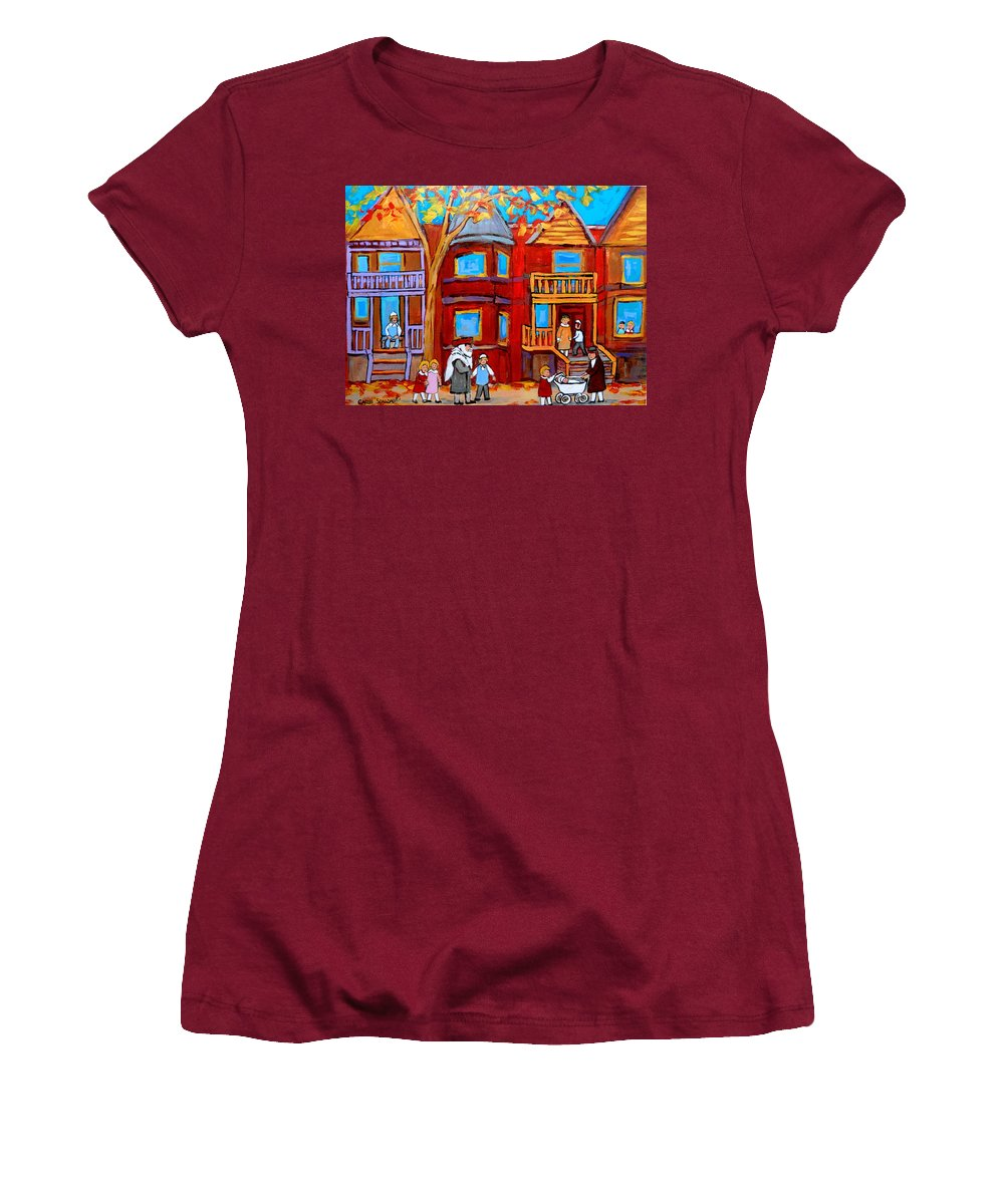 Outremont Women's T-Shirt (Athletic Fit) featuring the painting Montreal Memories Of Zaida And The Family by Carole Spandau