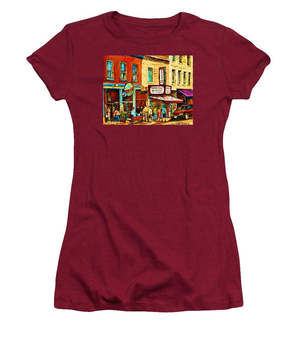 Montreal Women's T-Shirt (Athletic Fit) featuring the painting Montreal Streetscene Artist Carole Spandau Paints Schwartzs Main Street Hustle Bustle by Carole Spandau