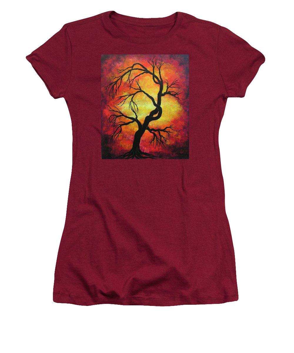 Acrylic Women's T-Shirt (Junior Cut) featuring the painting Mystic Firestorm by Jordanka Yaretz