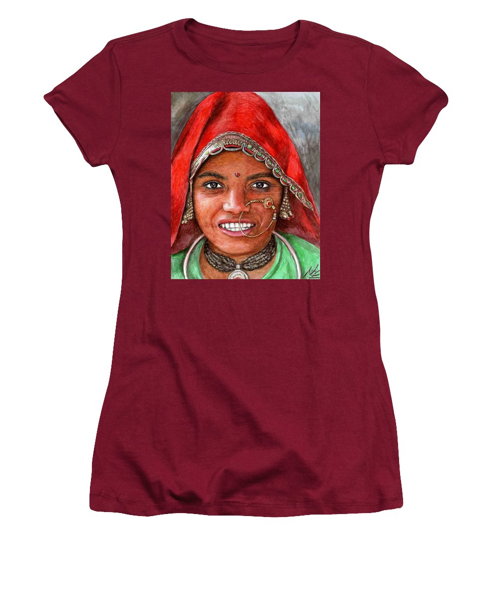 Woma Women's T-Shirt (Athletic Fit) featuring the painting Northindian Woman by Nicole Zeug