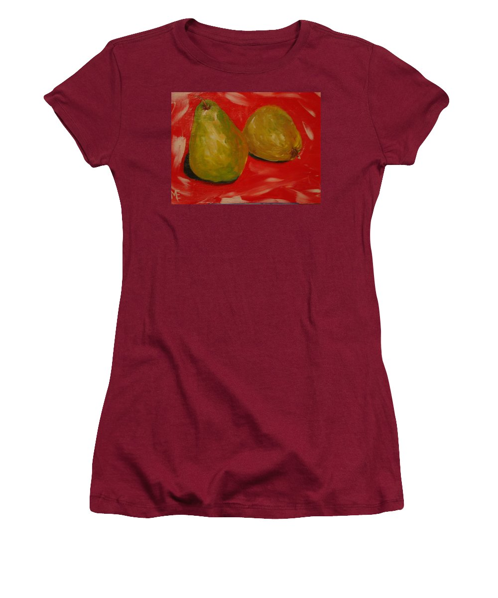 Pears Women's T-Shirt (Athletic Fit) featuring the painting Pair Of Pears by Melinda Etzold